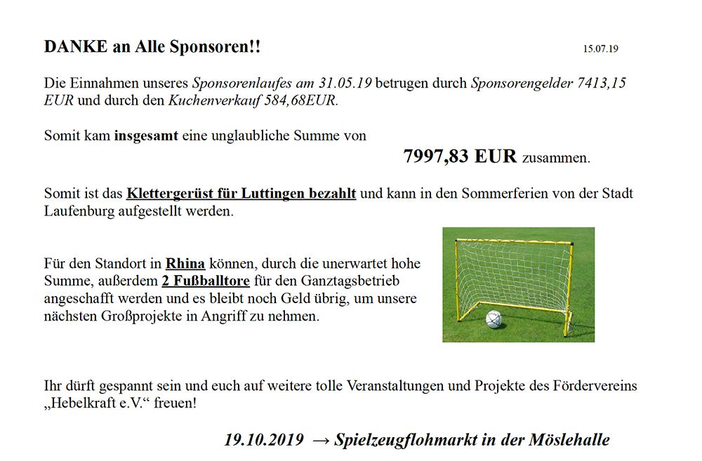 Förderverein Hebelschule Laufenburg Sponsorenlauf